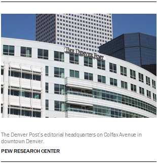 The Denver Post's editorial headquarters on Colfax Avenue in downtown Denver.