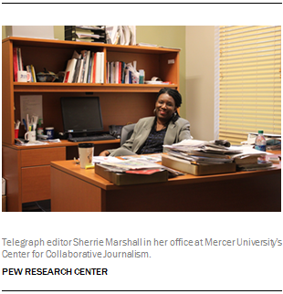 Telegraph editor Sherrie Marshall in her office at Mercer University's Center for Collaborative Journalism.