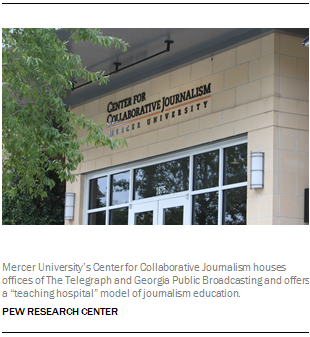 """Mercer University's Center for Collaborative Journalism houses offices of The Telegraph and Georgia Public Broadcasting and offers a """"teaching hospital"""" model of journalism education."""