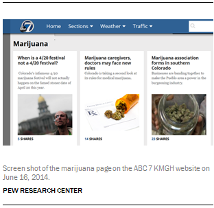 Screen shot of the marijuana page on the ABC 7 KMGH website on June 16, 2014.