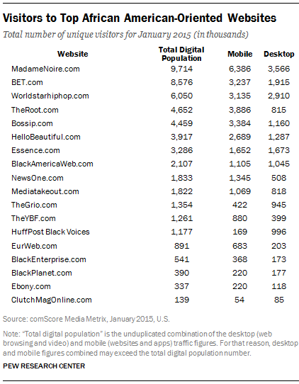 Visitors to Top African American-Oriented Websites