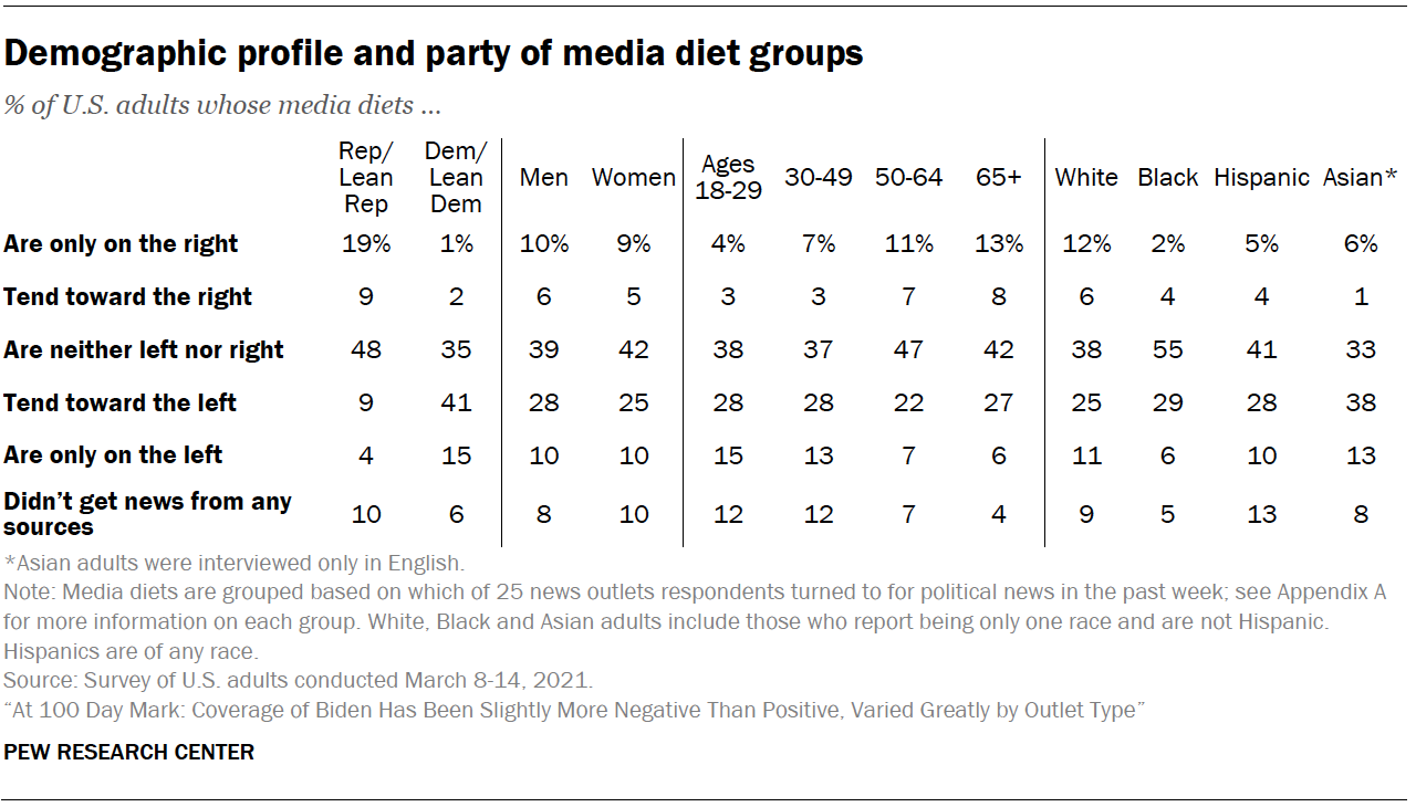 Demographic profile and party of media diet groups